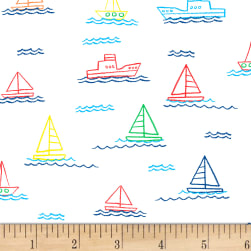 Dear Stella Things That Go Sailboats White Fabric