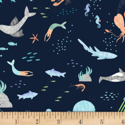 Dear Stella Pier Pressure Sea Animals Navy Fabric