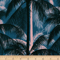 Cotton + Steel Canvas Poolside Palms Blue Fabric