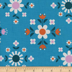 Cotton + Steel Welsummer Florametry Bright Blue Fabric