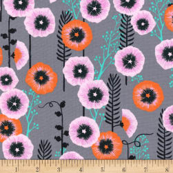 Cotton + Steel Santa Fe Hollyhocks Grey Fabric
