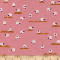 Cotton + Steel Panorama Sunrise Sheep Coral Fabric