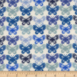 Cotton + Steel Panorama Ocean Butterflies Blue Ribbon
