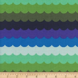 Cotton + Steel Panorama Ocean Scallops Landscape Fabric