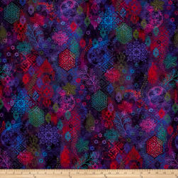 Arabesque Lacery Digital Violet Fabric