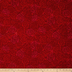 Sugar Berry Candied Roses Metallic Radiant Ruby Fabric