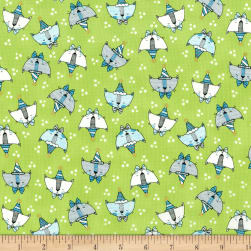 Doodle Pop Doodle Party Cats Metallic Green Fabric