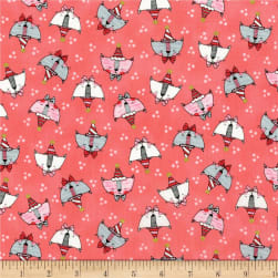 Doodle Pop Doodle Party Cats Metallic Coral Fabric