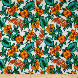 Cotton Linen Broadcloth Tropical Floral Rust/Green Fabric