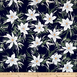 Cotton Linen Floral White/Navy/Green Fabric