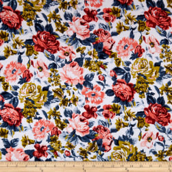Cotton Linen Romantic Floral Mustard/Peach Fabric
