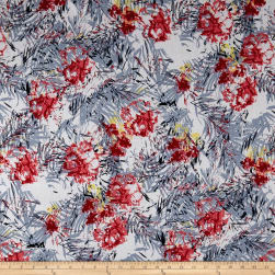 Cotton Linen Broadcloth Tropical Floral Gray/Coral Fabric
