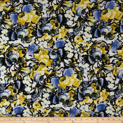 Cotton Linen Broadcloth Abstract Floral Mustard/Blue Fabric