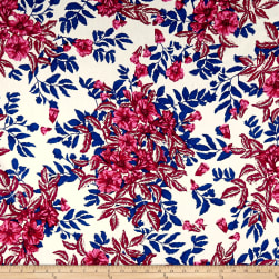 Cotton Linen Tropical Floral Navy/Wine/Pink Fabric
