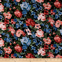 Cotton Linen Broadcloth Floral Coral/Green/Blue Fabric