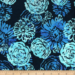 Blossom Batiks Splash Bouquet Bluebird Fabric