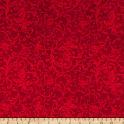 Maywood Studio Poinsettia & Pine Elegant Scrolls Red