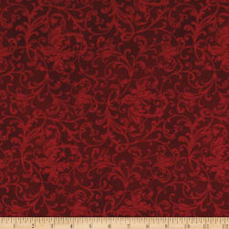 Maywood Studio Poinsettia & Pine Elegant Scrolls Dark