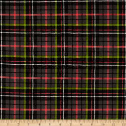 Maywood Studio Poinsettia & Pine Plaid Black Fabric