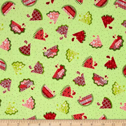 Sprinkle Sunshine Watermelon Patch Soft Green Fabric