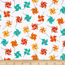 Sprinkle Sunshine Pinwheels Orange/Teal Fabric