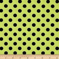 Kimberbell Designs Broomhilda's Bakery Dots Lime Black Fabric