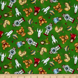 Maywood Studio Christmas Joys Flannel Toys Green Fabric