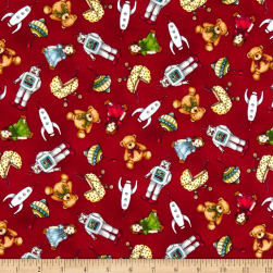 Maywood Studio Christmas Joys Flannel Toys Red Fabric