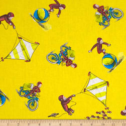 Curious George Allover Yellow Fabric