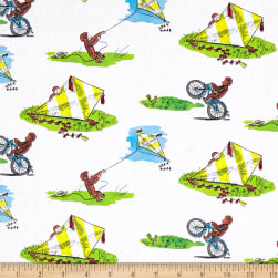 Curious George Allover White Fabric