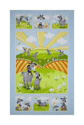 Susybee Hildy the Goat 36''Panel Blue Fabric