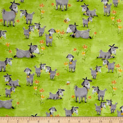 Susybee Hildy the Goat Allover Green Fabric