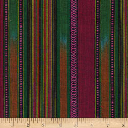 Arrowhead Stripe Green/Rust/Pink Fabric