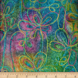 Indian Batik Embroidery Floral Bright Multi Fabric