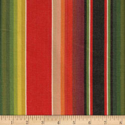 Flaring Sun Stripe Green/Red Fabric