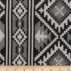Global Textures Jacquard Cotton Blend Aztec Black/Grey Fabric