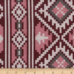 Global Textures Jacquard Cotton Blend Aztec Wine/Blk/Grey Fabric