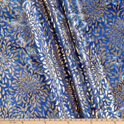 Indian Batik Tear Drop Gold Print Batik Blue