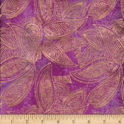 Indian Batik Leaves Gold Print Batik Purple Fabric