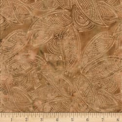 Indian Batik Leaves Gold Print Batik Natural Fabric