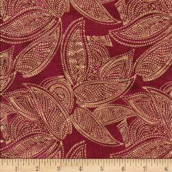 Indian Batik Leaves Gold Print Batik Wine Fabric