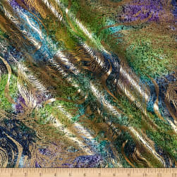 Indian Batik Swirl Gold Print Batik Teal Fabric