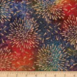 Indian Batik Starburst Gold Print Batik Multi Fabric