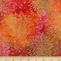 Indian Batik Starburst Gold Print Batik Orange/Pink/Yellow Fabric