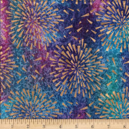 Indian Batik Starburst Gold Print Batik Fuchsia/Purple/Teal
