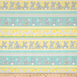 Flannel Fluffy Bunny Bunny Novelty Stripe Blue Fabric