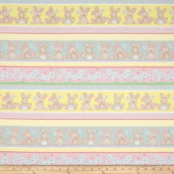 Flannel Fluffy Bunny Bunny Novelty Stripe Pink Fabric