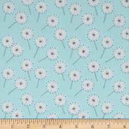 Flannel Fluffy Bunny Dandelion Puffs Blue Fabric