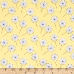Flannel Fluffy Bunny Dandelion Puffs Yellow Fabric