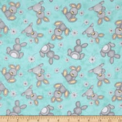Flannel Fluffy Bunny Tossed Bunnies Blue Fabric
